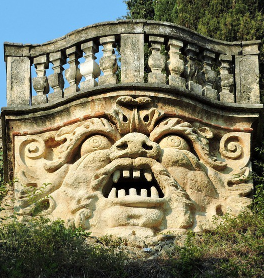 A monster carved into stone