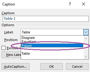 Dialogue box showing how to select the type of label you want
