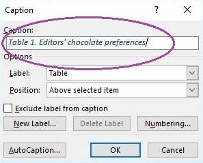 Shows where to type in the table heading.