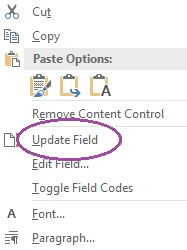 A dialogue box showing the option to update field.